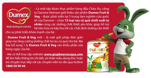 Sữa dumex bổ sung dưỡng chất từ rau củ quả.