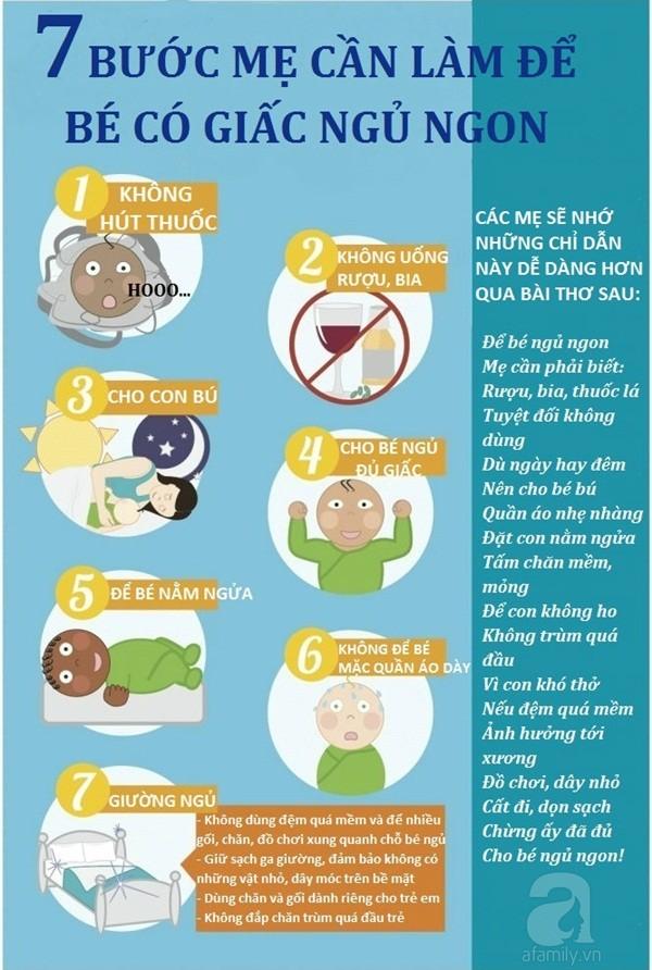 Để bé ngủ ngon, mẹ hãy nhớ bảy bước sau nhé