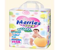 Bỉm quần Merries size M-58 miếng, bỉm cao cấp dành cho bé 6-11kg