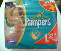 Bỉm dán Pampers size L-32 miếng, bỉm chất lượng cho bé 9-15kg
