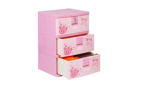 Tủ nhựa Sumi Duy Tân màu hồng 3 tầng