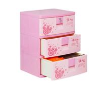 Tủ nhựa Sumi Duy Tân 3 tầng màu hồng đựng đồ cho bé