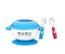 Bộ bát kèm thìa nĩa đa năng cho bé tập ăn Music
