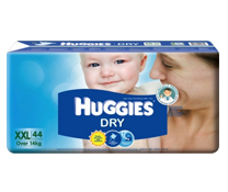 Bỉm dán Huggies Dry size XXL-44 miếng, lựa chọn số 1 cho bé trên 14kg
