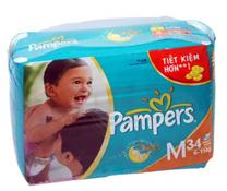 Bỉm dán Pampers size M-34 miếng, bỉm dán tuyệt vời cho bé 6-11kg
