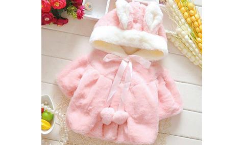 Áo choàng lông mũ thỏ màu hồng