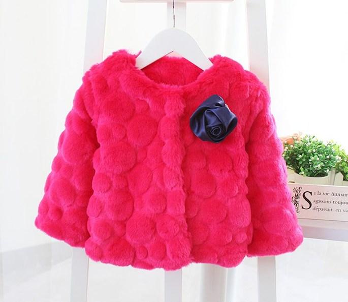 Áo choàng lông đính hoa bé gái màu đỏ