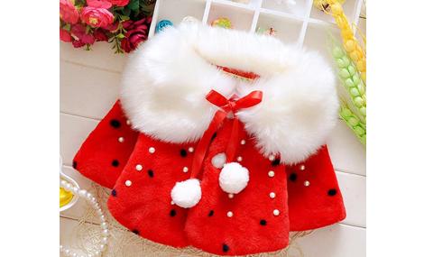 Áo choàng lông cổ ấm màu đỏ xinh xắn