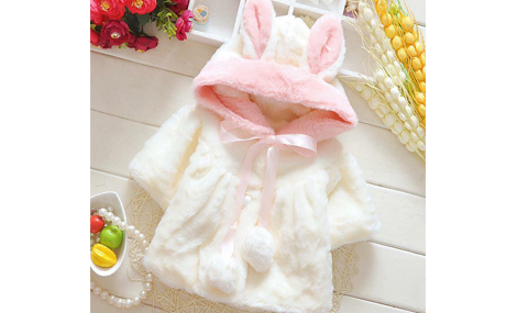 Áo khoác choàng lông nơ thỏ màu trắng