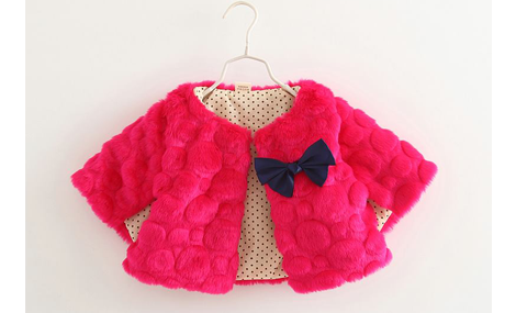 Áo choàng lông bé gái màu đỏ đính nơ